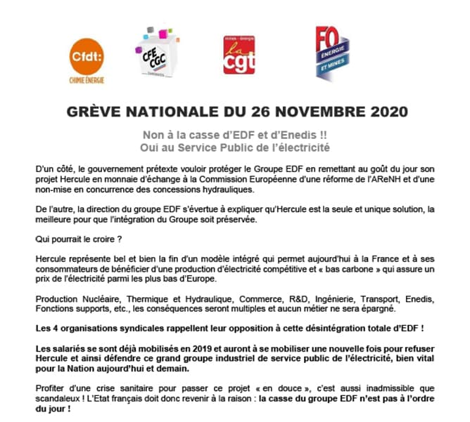 Grève Nationale du 26 Novembre 2020